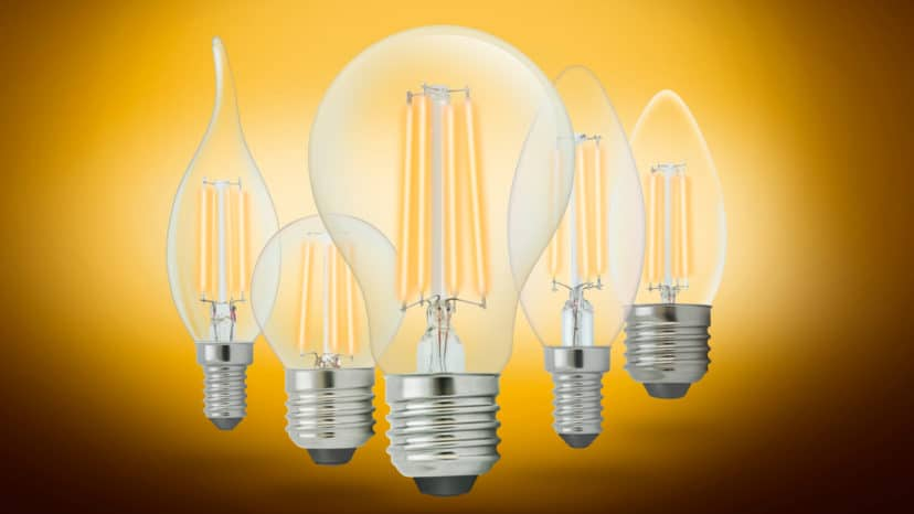 Filament LED bulbs with different shapes